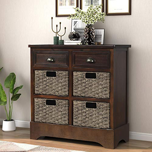 LUMISOL Home Collection Wicker Storage Cabinet Entryway table with Two Drawers and Four Wicker Baskets for KitchenLiving RoomDining Room Accent Furniture Espresso