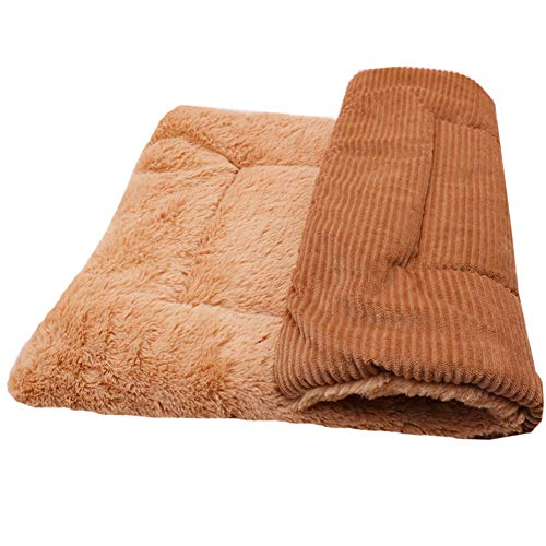 Hund Matten Warm Hundebett Flauschig Hundedecke Waschbar Betten Matratze Zwingerpolster Faltbare Haustier Decke für Hunde und Katzen-Braun-90 * 75