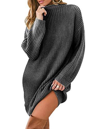 Strickkleid Longpullover Lange Pullover Kleid Grobstrick Damen Pulloverkleid Pullikleid Strickpullover Lang Strickkleider Kurz Winter Pulli Strick...