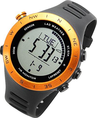 [ラドウェザー]ランニングウォッチ 心拍計 USB充電 速度計 歩数計 気圧計 高度計 コンパス アウトドア腕時計 スポーツ時計 (オレンジ(通常液晶))