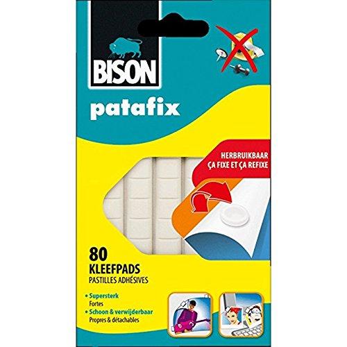 Bison Patafix Fixierpaste, 80 Klebepunkte, abnehmbar und wiederverwendbar, Weiß