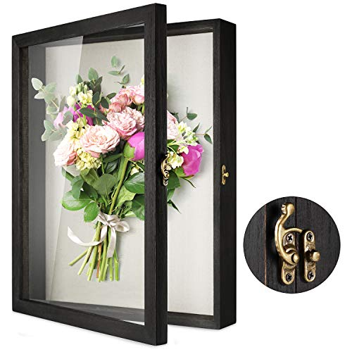 """TJ.MOREE Flowers Shadow Box Display Case 13"""" x 16"""" Large Shadow Box Frame with Glass Window Door..."""