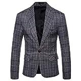 Mens Dress Plaids Suit Notched Lapel One Button Stylish Casual Blazer Jacket Dark Gray