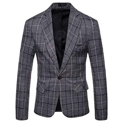Allthemen - Chaqueta para hombre, estilo informal, de tweed, a cuadros, para hombre