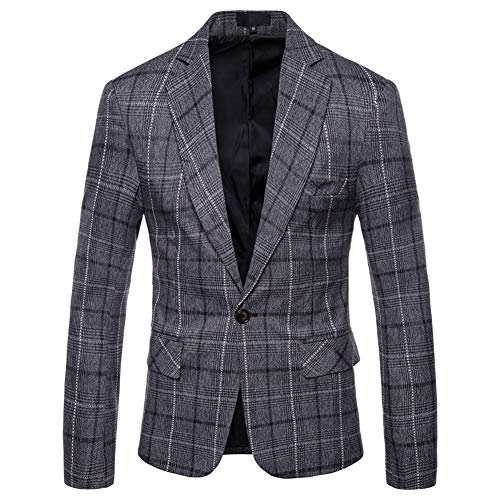 Mens Dress Plaids Suit Notched Lapel One Button Stylish Casual Blazer Jacket Dark Gray