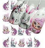 AIUIN 9 Piezas Pegatina de Uñas Patrón de Dibujos Animados Sirena y Unicornio Guías de Clavar Tip Pegatinas Conjunto con Uñas de Manicura