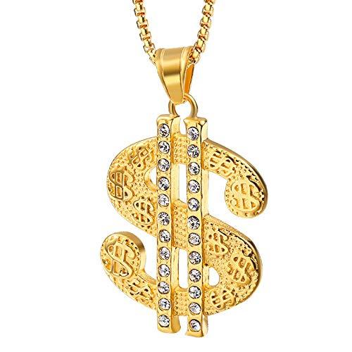 Gepersonaliseerde accessoires, Kettingen, Mode Hip Hop Sieraden Mens Goud Een Dollar Chain Teken RVS Geld Amulet Hanger Ketting met Steen, Thumby Goud