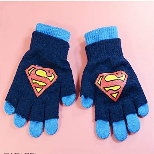 yuanyuanliu Due Spider-Man Car Batman Altman Superman Thomas Steel Guanti for Bambini Mezza Studentessa Full Finger (Color : C, Size : Medium)
