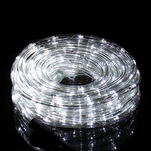 LED Stringa Luminosa 10M 240 Leds, Led Tubo di Luce con 8 Modalità, led Luce Decorativa Interno ed Esterno IP44 Impermeabile per Giardino, Balcone, Piscina, Natale, Matrimonio (Bianco)