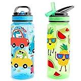 Home Tune 23oz Kids Water Drinking Bottle - BPA Free, Flip Straw Lid Cap, Lightweight, Carry Handle, Leak-Proof Water Bottle with Cute Design For Girls & Boys - 2 Pack Dinosaur & Fruit