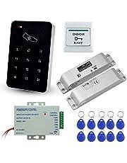 LIBO Volledige set RFID-toegangscontrolesysteem 125 KHz controller toetsenbord met DC12V elektrisch slot Elektronisch boutslot, 3A-voeding, exit-knop, 10st RFID-sleutelkaarten