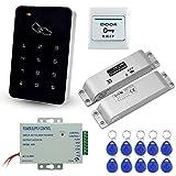 LIBO Kit Completo di Tastiera di Controllo Accessi RFID con Serratura Elettrica DC12V Serratura Elettronica Bullone, 3A Alimentatore, Pulsante di Uscita, Schede chiave ID 10 pz