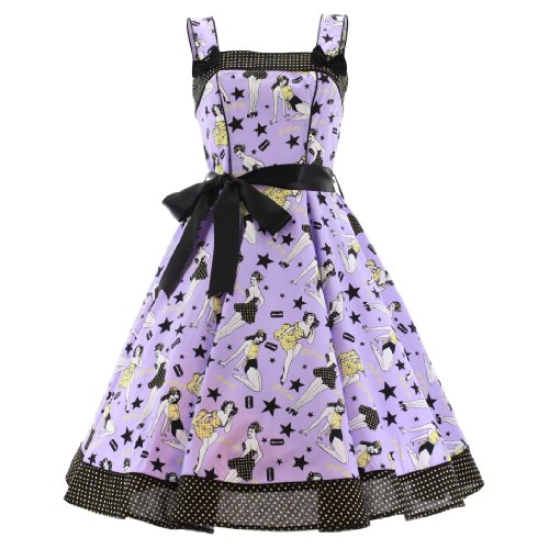 Hell Bunny Kleid Dixie Dress (M, Violett)
