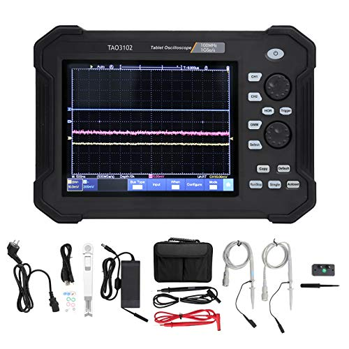 TAO3102 8in Tablet Osciloscopio de almacenamiento de pantalla táctil digital 2CH 100MHZ Osciloscopio Multímetro Kit 1GS Frecuencia de muestreo(EU Plug 100‑240V)