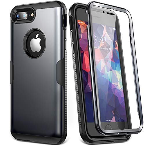 YOUMAKER Designed for iPhone 8 Plus Case & iPhone 7 Plus Case, Full Body Rugged with Built-in Screen Protector Heavy Duty Protection Slim Fit Shockproof Cover for iPhone 8 Plus 5.5 Inch - Black