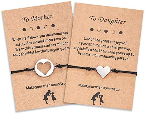Seyaa Mother Daughter Bracelet Sets for 2 Back to School Gift Matching Cutout Heart Wish Bracelets product image