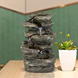 BBabe Staggered Rock Cascading Fountain 11', 5-Tiered Feng Shui Rocky Water Falls Tabletop Water Fountain with LED Lights for Home Office Decor