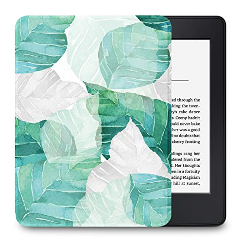 LuvCase Case for Kindle Paperwhite, Premium PU Leather Cover with Auto Wake Sleep Fits All Paperwhite Generations Prior to 2018 (Will NOT fit All-New Paperwhite 10th Gen), Leaf 1