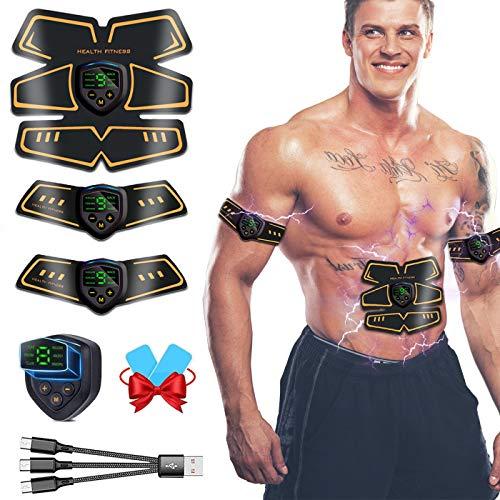 WARDBES Electroestimulador Muscular Abdominales, EMS Estimulador Muscular Abdominales Cinturón, EMS Trainer USB Recargable para Abdomen/Brazo/Piernas/Glúteos/Cintura para Hombres y Mujeres