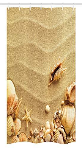 N \ A Duschvorhang, Muscheln am Sandstrand, Seestern, Sommer-Ziel, Sandmuscheln, Natur, Stoff, Badezimmer-Dekor-Set mit Haken, 152,4 x 182,9 cm, Sandbraun