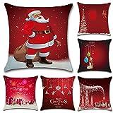HuifengS Feliz Navidad y próspero año Nuevo Fundas de cojín de algodón Fundas de Almohada de Lino Sofa Decoración de casa Throw Pillow Case 6 Piezas, 45 x 45 CM