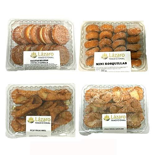 Lázaro Pack Surtido De Rosquillas, Galletas Fritas ( Rellenas De Crema De Vainilla) Y Pestiños de miel y de Azúcar.1000 g