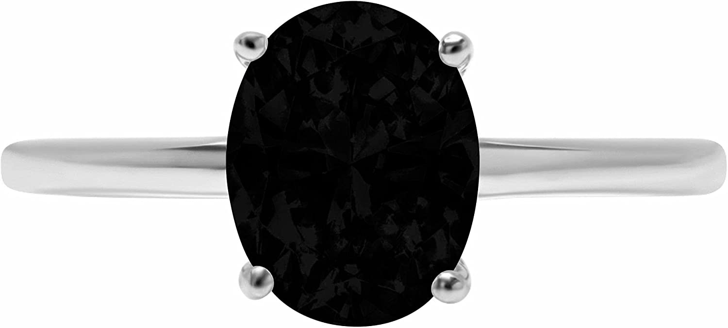 1.9ct Brilliant Oval Cut Solitaire Flawless Genuine Natural Black Onyx Ideal VVS1 4-Prong Engagement Wedding Bridal Promise Anniversary Designer Ring Solid 14k White Gold for Women