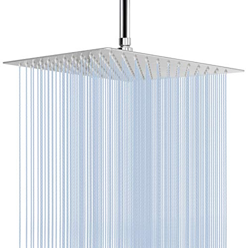 Large Rain Shower Head, NearMoon Luxury Square Stainless Steel Rainfall Showerhead, Waterfall Bath Shower Body Covering, Ceiling or Wall Mount (12 Inch, Polished Chrome)