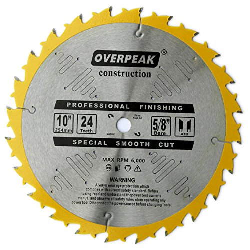 Overpeak 10 Inch Circular Saw Blade TCT General Purpose with 5/8 Arbor for Wood Cutting Metal Saw Blades