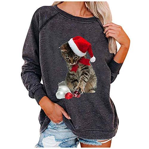 SEEGOU Weihnachten Crewneck Sweatshirt Cat Druck Langarm Pullover Sweatshirts Jumper...
