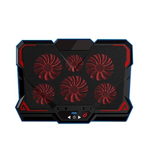 Almohadilla de enfriamiento para computadora portátil, 6 soportes ultra silenciosos para enfriamiento de computadora portátil, soporte de enfriamiento para computadora portátil para juegos con luz LED