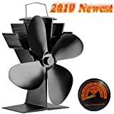 G.CORE Silent Operation 4-Blade Aluminum Stove Fan with Stove Thermometer for Wood/Log Burner/Fireplace Wood Stove Eco-Friendly [Energy Class A+++] (Balck)