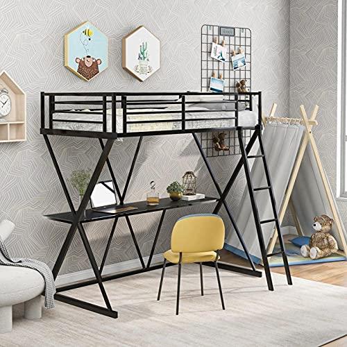 Nyaste stålsäng med skrivbordssofa med stege och fullängds skyddsräcken X-formad ram