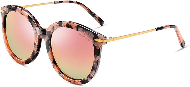 Fashion Sunglasses Women'S Plate Fashion Big Box Repair Face colorful Film Polarized Driving Mirror Crush Flower