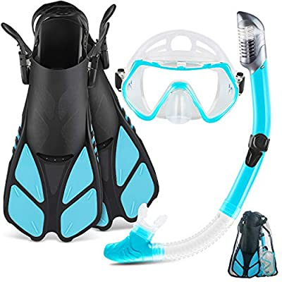 ZEEPORTE Mask Fin Snorkel Set with Adult Snorkeling Gear, Panoramic View Diving Mask, Trek Fin, Dry Top Snorkel +Travel Bags, Snorkel for Lap Swimming (ML/XL) (W40, ML/XL)