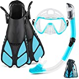 ZEEPORTE Mask Fin Snorkel Set with Adult Snorkeling Gear, Panoramic...