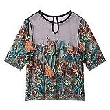GFDFD Summer Mujer Blusa Fashion Casual Manga Corta Malla de Malla Camisa de Bordado Señoras Sueltas Tops Transparentes (Size : M Code)