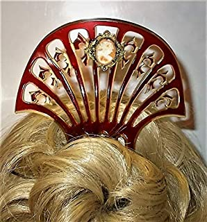 Red Victorian Cameo Hair Comb 1910s Celluloid Comb w/Antique Cameo Hand Carved Shell Cameo in 3 Layered Brass, Deeply Carved Celluloid Comb