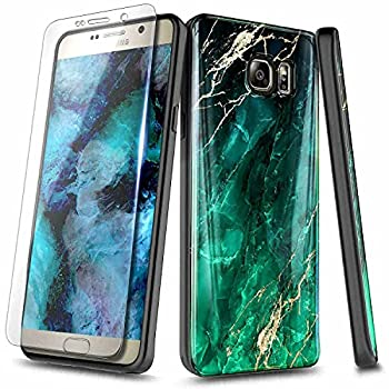 E-Began Case for Samsung Galaxy S6 with Tempered Glass Screen Protector Ultra Slim Thin Glossy Stylish Protective Marble Design Cover Phone Case -Green