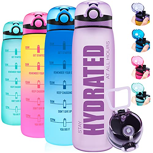 Elvira 32oz Motivational Water Bottle with Time Marker & Removable Fruit Infuser, Leakproof BPA Free Wide Mouth, Ensure You Drink Enough Water Daily for Fitness and Outdoor Activity-Light Purple