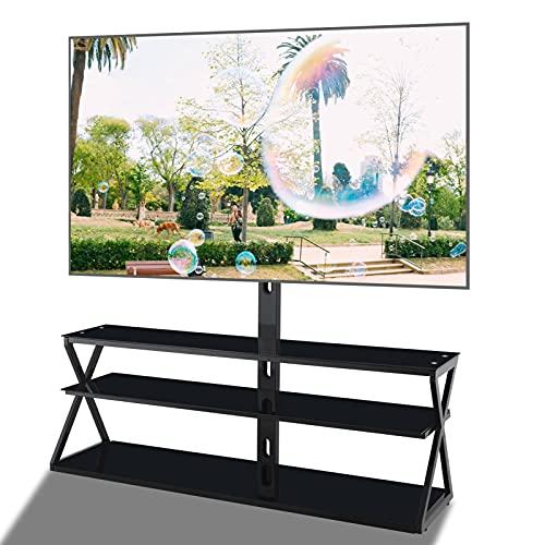 FLHLH Soporte de TV de vidrio templado negro, estante de almacenamiento de medios, altura giratoria, este soporte de TV giratorio puede acomodar la mayoría de los televisores de 32 a 65 pulgadas.