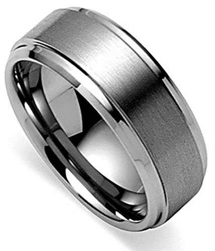 King Will Basic Men's Tungsten Carbide Ring 8mm Polished Beveled Edge Matte Brushed Finish Center Wedding Band(14)