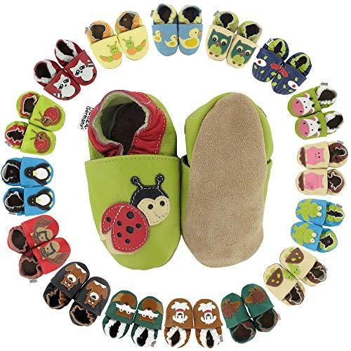 HOBEA-Germany Krabbelschuhe in verschiedenen Farben und Designs mit Tieren, Schuhgröße:18/19 (6-12 Monate);Modell Schuhe:Marienkäfer