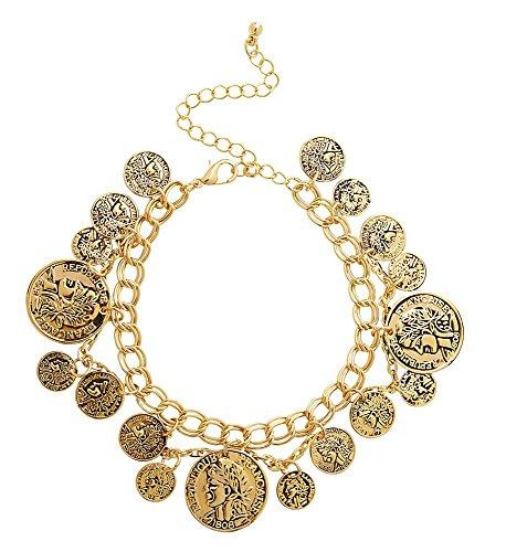 shoperama Armband Gold-Münzen Schmuck Arm-Kette Wahrsagerin Zigeunerin Göttin Haremsdame Römerin Belly Dance Bauchtanz Kostüm-Zubehör