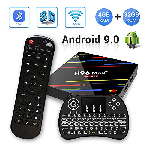 H96 MAX+ Android 9.0 TV Box 4GB RAM/32GB ROM 4K Ultra HD RK3328 Quad Core Soporte 2.4GHz WiFi con Wireless Mini Backlight Keyboard