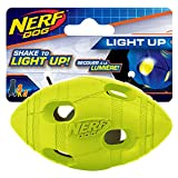 Nerf Dog Bash Football Dog Toy with Interactive LED, Lightweight, Durable and Water Resistant, 4 Inches for Medium/Large Breeds, Single Unit, Green or Orange