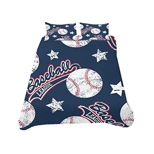 Bettwäsche set 3D Baseball Basketball Sport Style Weiß Schwarz Rot Blau Sterne Mehrfarbig Bettbezug Mit Reißverschluss, Kind Junge Teenager (Stil 5,Bettbezug 135x200 cm + 1 Kissenbezug 80x80 cm)