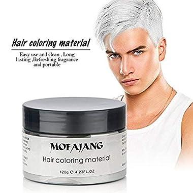 MOFAJANG Hair Coloring Dye Wax, White Instant Hair Wax, Temporary Hairstyle Cream 4.23 oz, Hair Pomades, Natural…