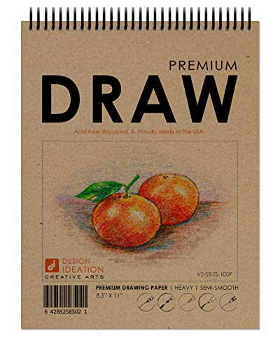 Design Ideation Drawing Book. Spiral Bound multi-media drawing book for Pencil, Ink, Marker, Charcoal and Watercolor Paints. Great for Art, Design and Education. (8.5' x 11') (1 Book)