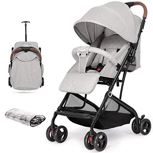 Hadwin Baby Stroller, Lightweight Portable Baby Pushcahir with Rain Cover, One-Hand Foldable Travel Baby Buggy Pram with Five-Point Harness, Adjustable Backrest & Footrest, Great for Airplane, Grey